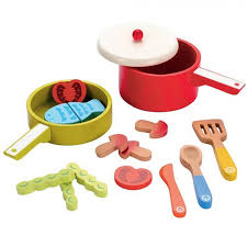Childrens Toy Wooden Kitchen Learning Centre Elc Wooden Wood Childrens Pot U0026 Pan Kitchen