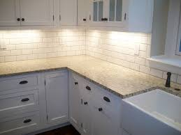 White Kitchen Tile Backsplash Kitchen Small Gray Tile Back Splash With White Wooden Cabinet
