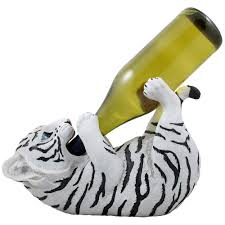 amazon com drinking white tiger cub wine bottle holder sculpture