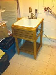 diy utility sink cabinet oak utility sink stand by mc creations lumberjocks com