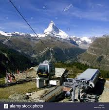 blauherd cable railway with the matterhorn in the background stock