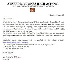 admission letter for class i stepping stones