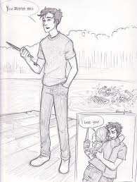 drawn comic percy jackson pencil and in color drawn comic percy