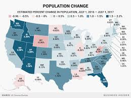 map us states population here s how much each us state s population grew or shrank in a