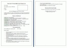 Sample Resume Of Security Guard by Security Guard Resume Template Free Word Templates