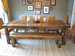 unique bold farmhouse style dining table with single bench and six