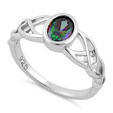 celtic ring sterling silver oval rainbow topaz cz celtic ring