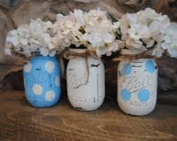Baby Boy Shower Centerpiece by Mason Jar Baby Boy Shower Centerpieces Blue And White Polka