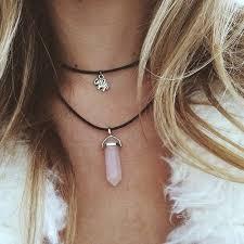pink crystal pendant necklace images Rose crystal pendant necklace tumblr inspired necklace pink jpg