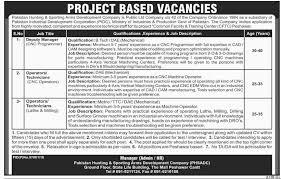 Machine Operator Job Description Pakistan Hunting Sporting Arms Development Company Jobs April 2016