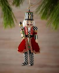 courtly check nutcracker ornament by mackenzie childs at