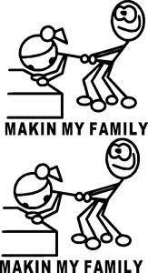 Meme Stick Figure - x2 makin my family sticker funny car meme stick figure family lol