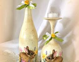 Easter Decorations With Wine Glasses by Easter Bunny Egg Decor Hand Decorated Eggs Setdecoupage