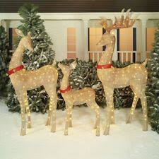 Christmas Yard Decorations On Ebay by Brown Twinkling Mesh Deer Family Led Outdoor Christmas Decoration