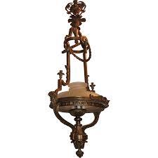 Bronze Chandelier French Victorian Gilt Bronze Frosted Globe Chandelier Fixture