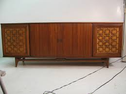 large mid century modern walnut credenza with tambour doors at 1stdibs