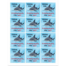 shark birthday party favor tag by that party shark reef