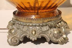 Vintage Retro Floor Lamp Vintage Table Floor Lamp W Huge Amber Glass Globe 1960s Retro