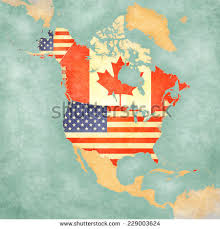 map of us and canada us canada on outline map stock illustration 229003624