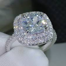 women wedding rings choucong cushion cut 8mm aaaaa zircon cz 925 sterling silver women