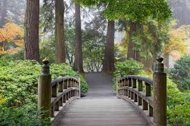 wooden foot bridge in a japanese garden wall mural 75 u0027wide by 8