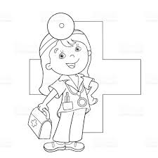coloring outline cartoon doctor aid kit stock
