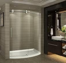 No Shower Door 60 Zenarch Completely Frameless Bowfront Sliding Shower Door No