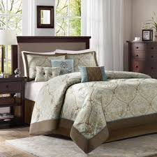colormate 6 piece blue and brown filmore jacquard bedding set