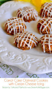 carrot cake oatmeal cookies with cream cheese icing at dalb
