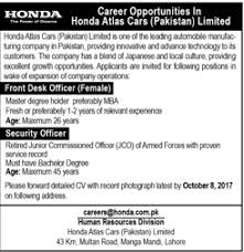 Security Front Desk Front Desk Officer Security Officer Jobs In Honda Atlas Limited 2017