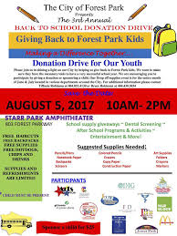 back to event in forest park offers free supplies
