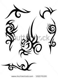 set of 6 black tribal designs on a white background stock