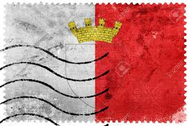 Matla Flag Flag Of Mdina With Coat Of Arms Malta Old Postage Stamp Stock