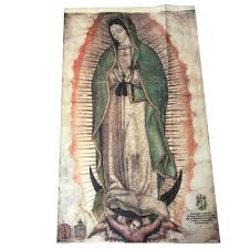 our lady of guadalupe large faux cactus textile banner the