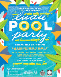 Invitation Card For Pool Party Luau Pool Party The Campus Crop