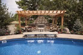 backyard escapes backyard escapes pergola with waterfall pool design design idea