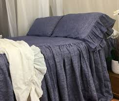chambray denim linen bedspread chambray bed cover handmade in