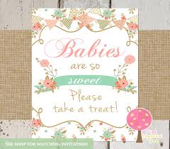 babies are sweet please take a treat baby shower sign shabby