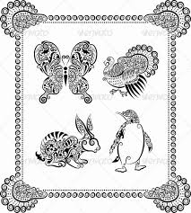 animal ornaments rabbit butterfly turkey by comicvector703