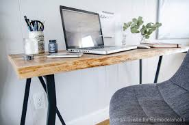 Diy Trestle Desk Remodelaholic Ikea Hack Easy Diy Live Edge Desk With Trestle Legs