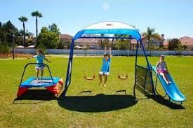 Kids Backyard Play Set by Metal Swingset Swing Set Playground Trampoline Slide Kids Backyard