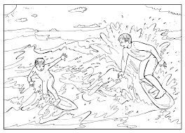 coloring page surfing in the sea