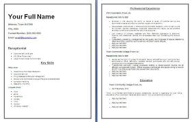 Receptionist Resume Examples receptionist resume template free word templates