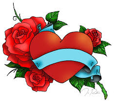 cool heart tattoo design with blue banner for all picsmine