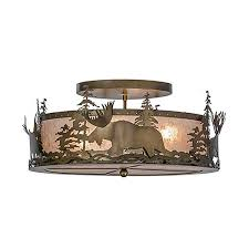 Rustic Ceiling Light Fixture Rustic Lighting Wolf Flush Mount Ceiling Light Cabin Place