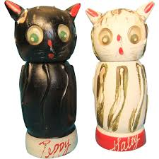 vintage wooden salt and pepper shakers salty and peppy 1950s