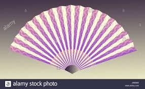 asian fan with linear flower pattern in purple shades stock photo