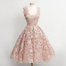 pearl lace gown scoop knee length pearl pink lace hoco dress