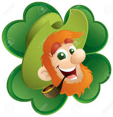 fun leprechaun and four leaf clover royalty free cliparts vectors