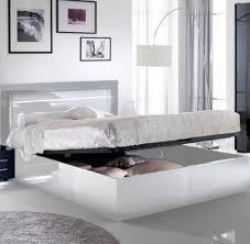 chambre lit lit avec coffre de rangement city laque blanc chambre à coucher